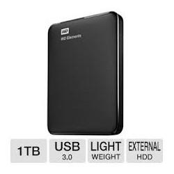 """WD - External 2.5"""" Elements 1TB USB 3.0 / BLACK"""