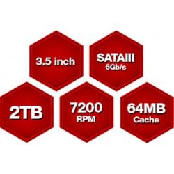 Western Digital® Red PRO 2TB 7200RPM SATA HDD NAS Storage (8-16 Bay NAS Systems)