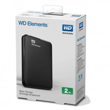 """WD - External 2.5"""" Elements 2TB USB 3.0 / BLACK"""
