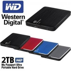 """Western Digital® - External 2.5"""" Passport Ultra 2TB USB 3.0 / BLUE"""